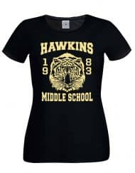 Hawkins Middle School Tee Mens Black Ladies