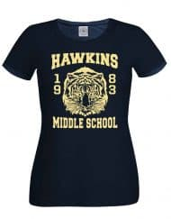 Hawkins Middle School Tee Mens Navy Ladies